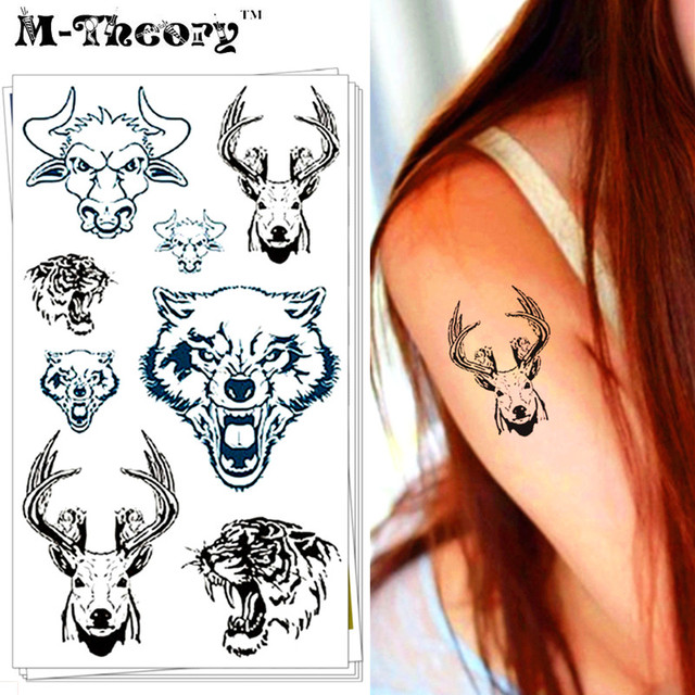 M-theory Wild Animal Choker Makeup Temporary 3d Tattoos Stciker Henna Tatto Body Arts Flash Tatoos Stickers