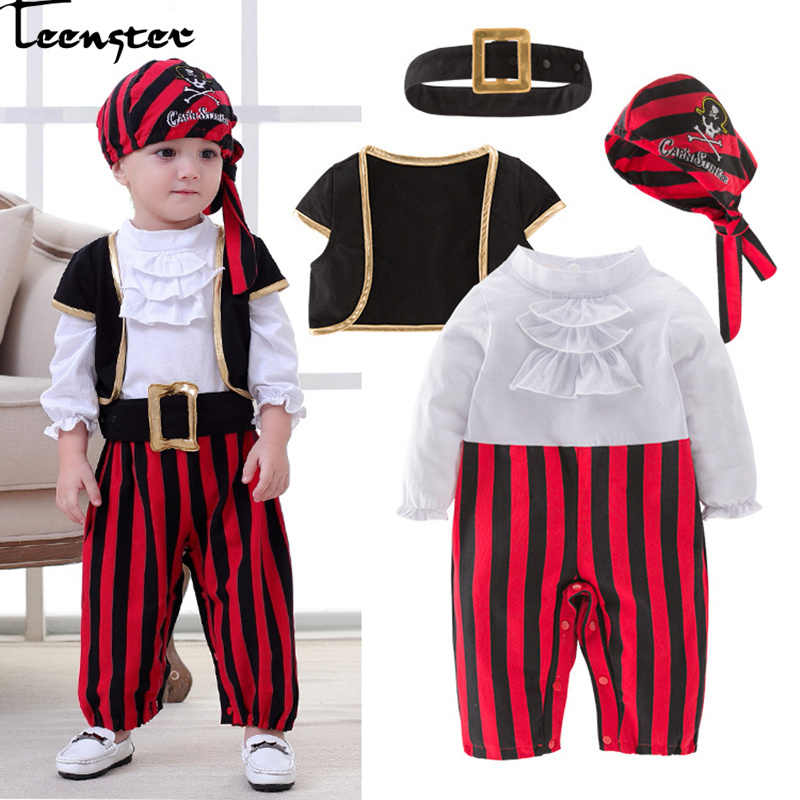 Infant Clothing Baby Outfit Lodumani Captain Pirate Style Long Sleeve Bodysuit&hat&belt&vest Newborn Toddler Boy Clothes Costume