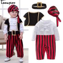 Bebek Giyim bebek giysisi Lodumani Kaptan Korsan Tarzı Uzun Kollu Bodysuit ve şapka ve kemer ve yelek Yenidoğan Yürümeye Başlayan Çocuk Giysileri kostüm