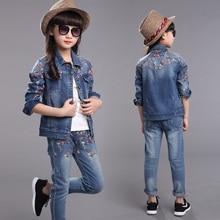 Autumn Spring School Girls Denim Clothing Set Jean Jacket+Denim Pants +shirt 3pcs Children Kids Clothing Set for 7 8 9 10 15 y цена
