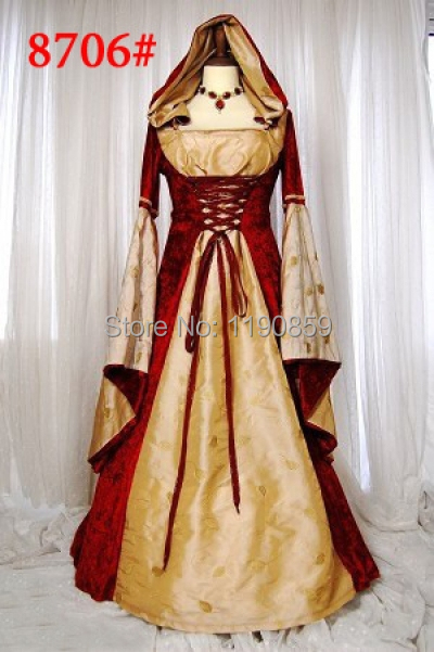 free shipping lz8706 women stunning maid marion costume medieval fancy dress up halloween party outfit - Stunning Halloween Costumes
