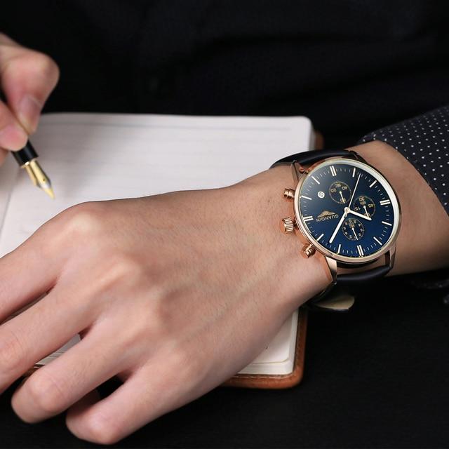 Mens Watches Top Brand Luxury GUANQIN Men Military Sport Luminous Wristwatch Chronograph Leather Quartz Watch relogio masculino