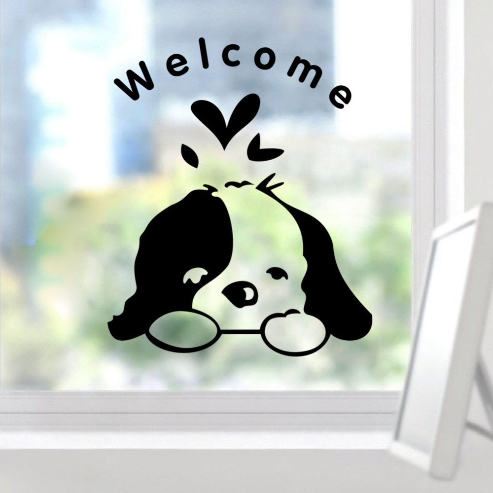 Welcome Kids Room Dogs Door Sticker Funny Toilet Bathroom Car Glass Wall Stickers Home Decoration