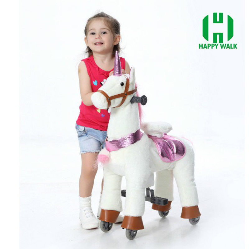 M Size Ride On Horse Outdoor Playground Toy Horse On Wheels  Mechanical Walking Horse For Kid Gifts Birthday New Year Gifts child drift trike 4 wheels walker kids ride on toys for 1 3 years tricycle outdoor driver