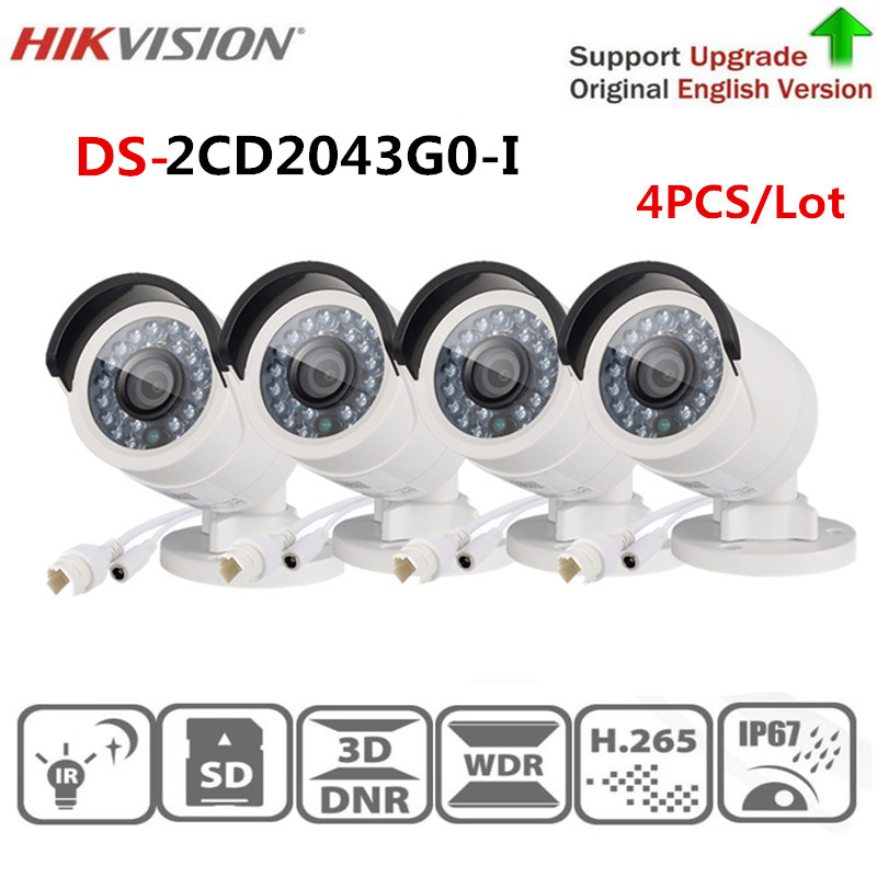 Hikvision Security IP Camera 4 MP IR Fixed Bullet Network Camera DS-2CD2043G0-I Replace DS-2CD2042WD-I Home Video Surveillance