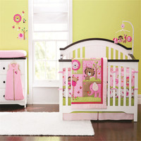 7pcs lovely Cotton Crib Bed Linen Kit Cartoon Baby Bedding Set girls baby cot kit with baby quilt