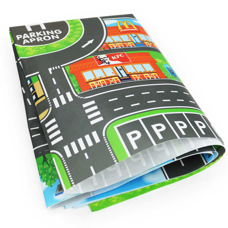 100X130CM Toy Car Mat Map Kids Play Area Rug Mat City Road Buildings on