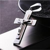 Personalized Jesus Christ Cross Titanium Steel Necklace Pendant Silver 2018 Hot Sale