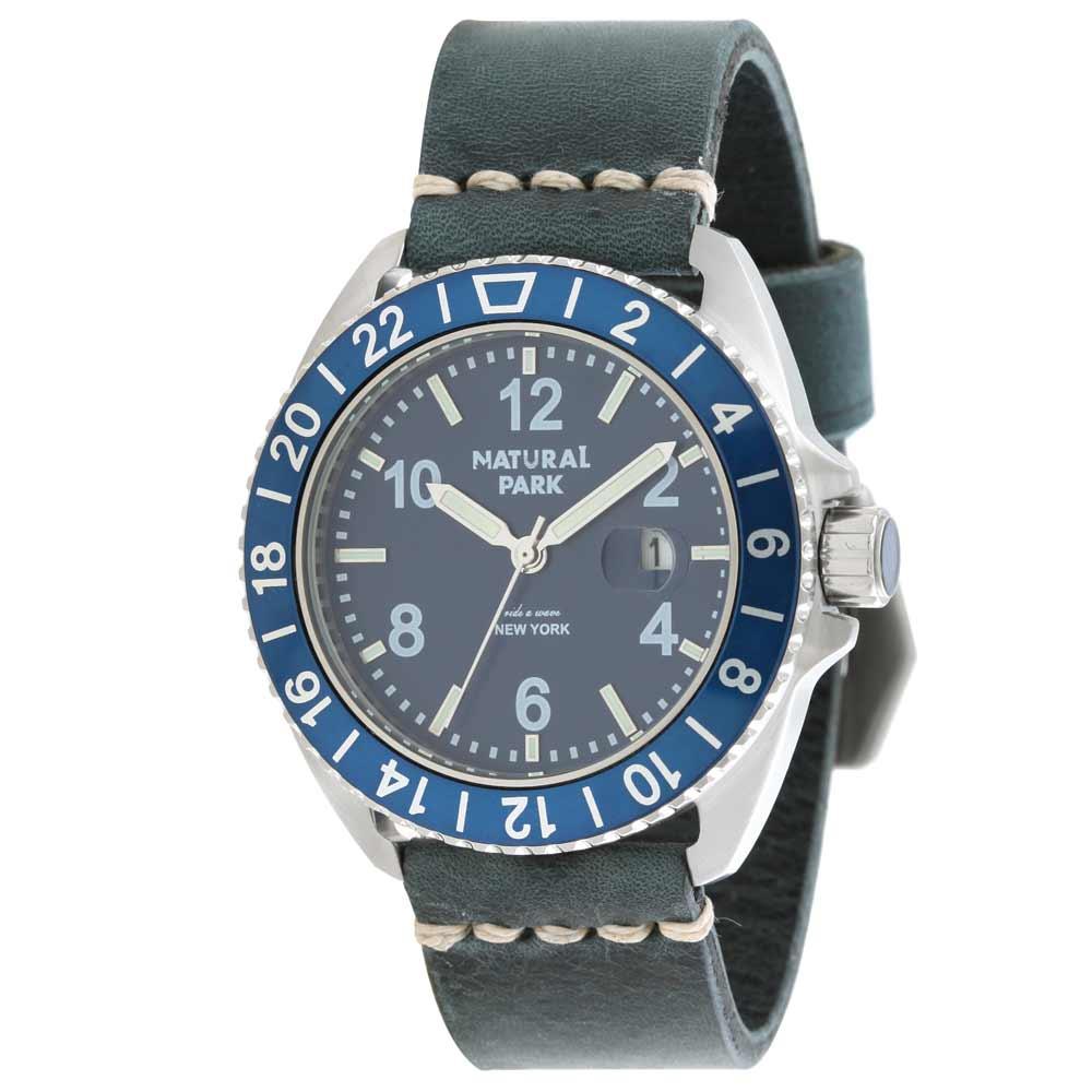 NATURAL PARK 2016 Brand New NP1305BL Cobalt ITALY Leather Strap Quartz Watch Male Relogio Masculino Men