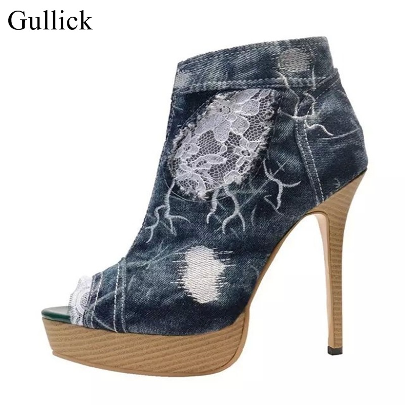 Gullick Denim Blue High Heel Pumps Peep Toe Lace Ankle Boots High Platform Jeans Gladiator Sandal Boots For Women Real Photo 2017 fall winter blue denim short sandal boots front back lace up open toe ankle boots brown black high heel high top sandals