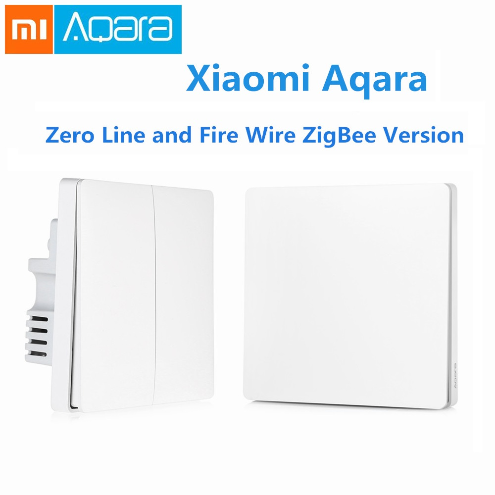 Original Xiaomi Aqara Smart Light Control Fire Wire Zero Line Double Single Key ZiGBee Wall Switch Version Mijia APP Control 2018 orvibo geekrav zigbee smart switch zero
