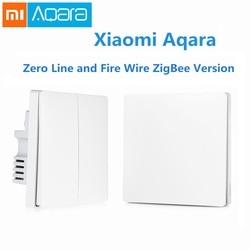 Original Xiaomi Aqara Smart Light Control Fire Wire Zero Line Double Single Key ZiGBee Wall Switch Version Mijia APP Control