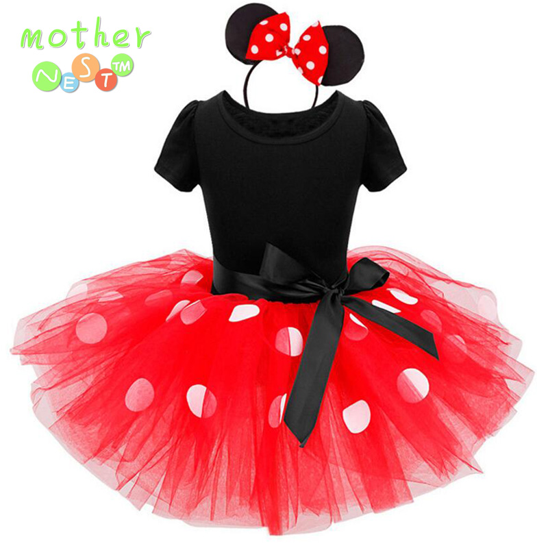 2017 Newest Kids Gift Minnie Mouse Party Dress Fancy Costume Cosplay Girls Minnie Dress+Headband 9M-6Y Infant Baby Clothes Red