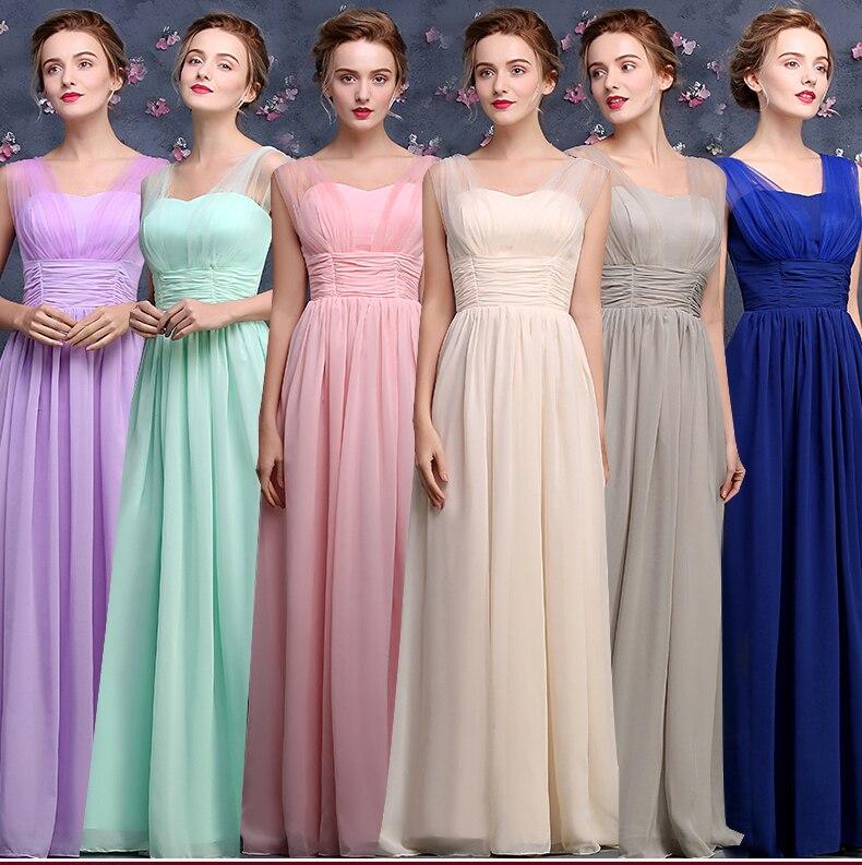 Vestidos de madrinha new sexy V-neck chiffon tulle A Line mint green champagne pink royal blue lilac bridesmaid dress long