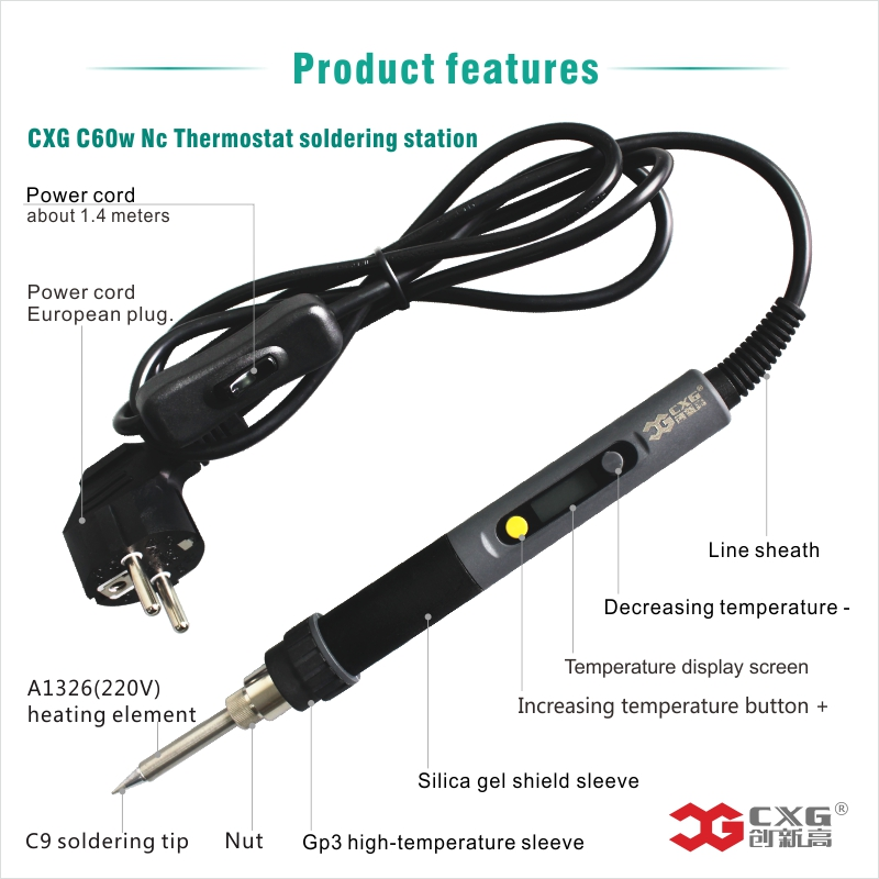 soldering iron 220v Temperature Adjustable Temperature Digital Display welding Electric heating element soldering irons 220v 60w adjustable temperature soldering iron welding gun heating pencil eu plug electric soldering irons drop ship