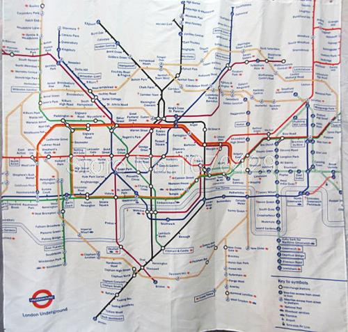 Shower Curtain London Subway Tube Map Pattern Bathroom Waterproof Mildewproof Polyester Fabric With 72 Inch