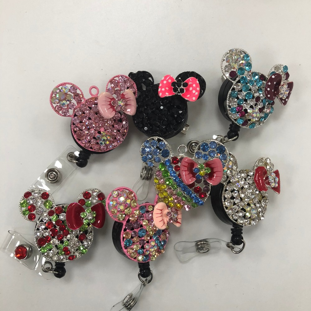10 pieces lot free shipping Minne Mouse Crystal retractable nurse ID badge card reel medical badge
