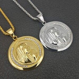 Image 1 - חדש קתולי דתי תכשיטי מרים בתול תליוני זהב צבע נירוסטה מדונה קולייר עבור נשים 2020 שרשרת