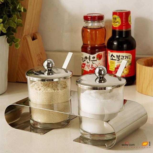 IKEA Kitchen Supplies Stainless Steel Condiment Box Cruet Salt Shaker And  Sugar Bowl Glass Kitchenware Sets