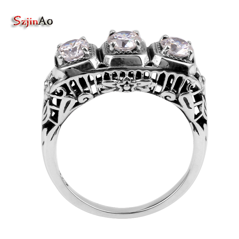 Szjinao Diamond Rings For Women Zircon Gemstones 925 Sterling Silver Rings Carve Fowers cubic zirconia Finger Ring Women Jewelry