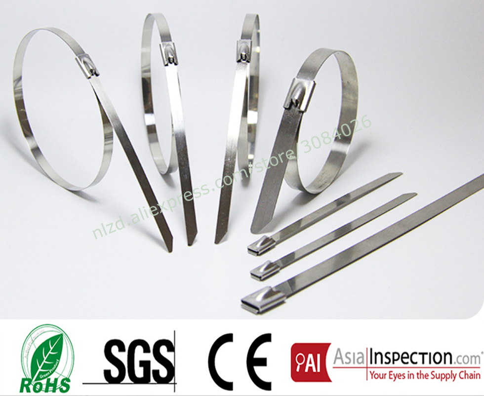 100Pcs S304 Stainless Steel Metal Cable Tie width 4.6mm Zip Strap Locking Exhaust Pipe Header 200mm 250mm 300mm 350mm-700mm