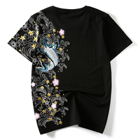 HZIJUE Men   T     Shirts   embroidery fish Top Brand Clothing Chinese Japanese Style   T  -  shirts   For Man Tees Streetwear Cotton Plus Size