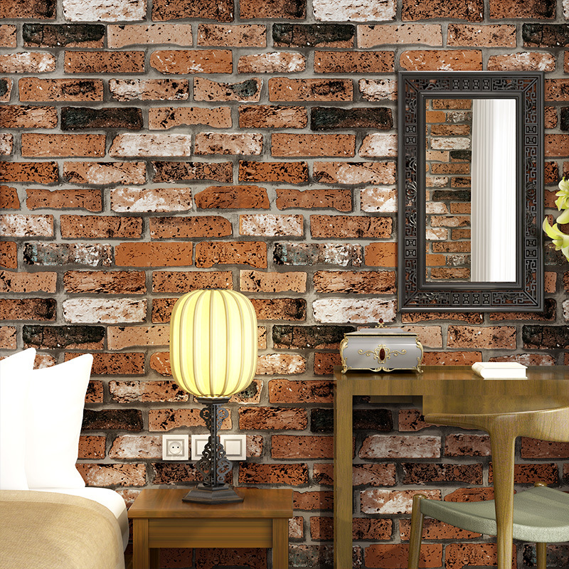 beibehang Embossed 3D Brick Wall Paper Modern Vintage Brick Stone Pattern Paper Wallpaper Roll For living room Wall covering 1 design laser cut white elegant pattern west cowboy style vintage wedding invitations card kit blank paper printing invitation