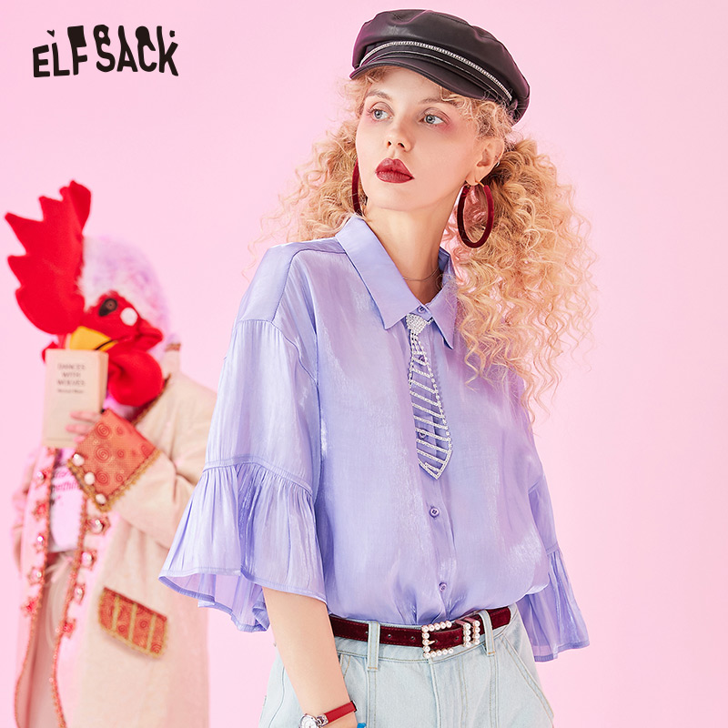 Image 2 - ELFSACK 2019 Summer New Casual Women Blouses Fashion Ruffles Basis Female Shirts Solid Butterfly Sleeve White Womans ClothingBlouses & Shirts   -