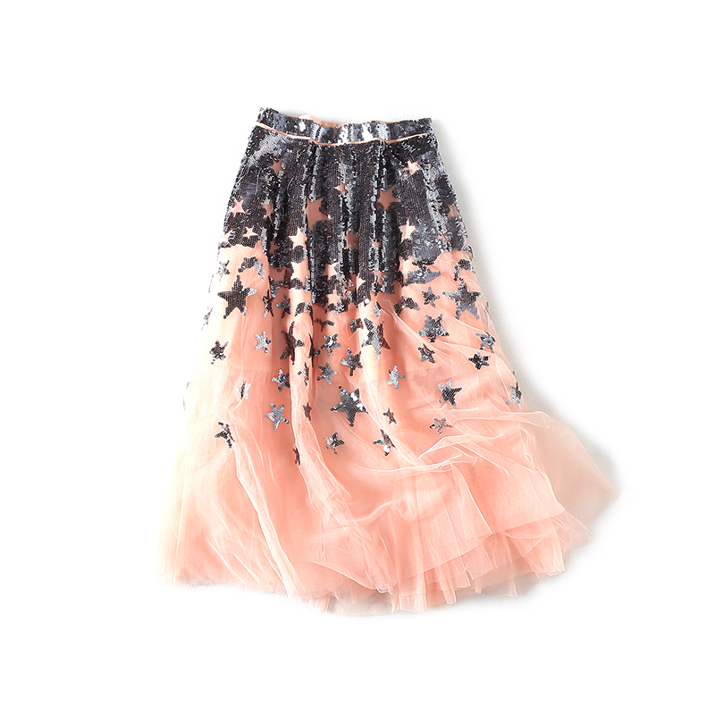 New 2019 Stars Embroidered Sequins Fink  Long Skirts  3650