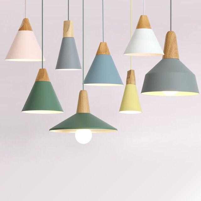 E27 Pendant Lights Restaurant/Bar Lighting Wooden Aluminum Shade Lamps Light Fixture