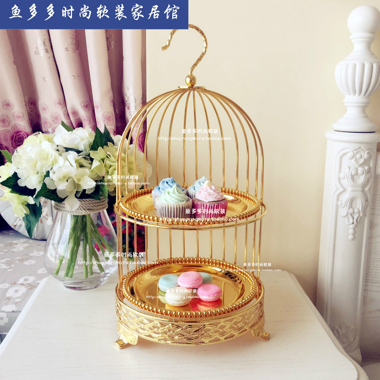 Vintage gold double layer bird cage cake stand afternoon tea snack rack dessert West cake pan
