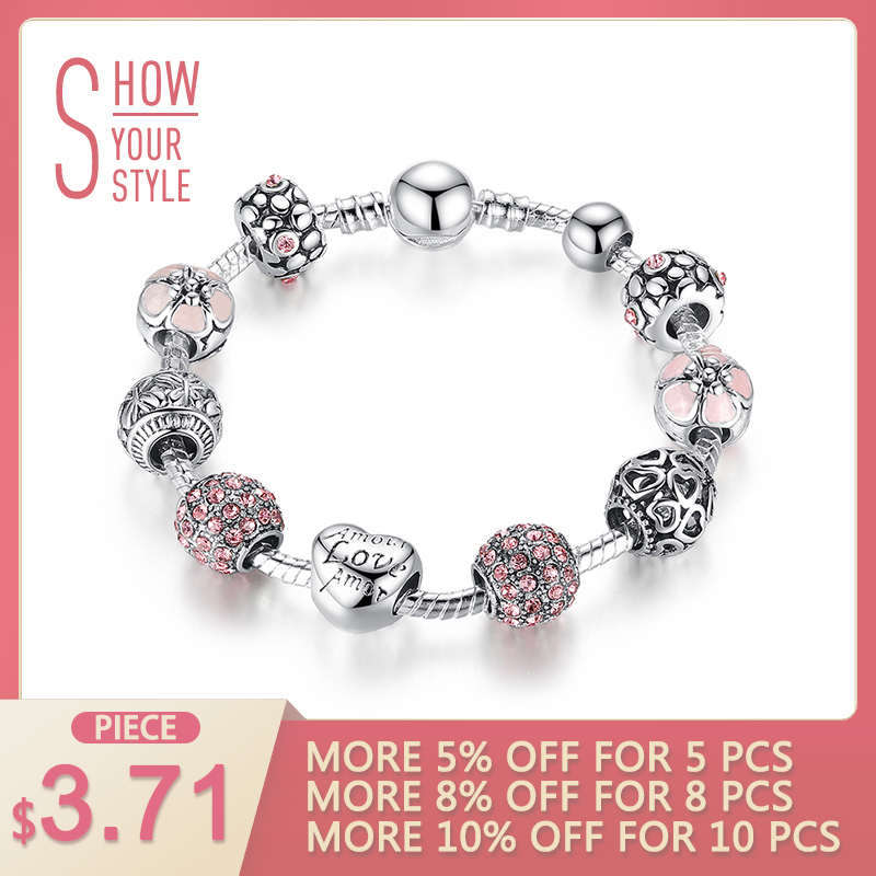 2018 Hot Sale Silver LOVE FOREVER Amor Amour Charm Armband för kvinnor DIY Smycken Original Pärlor Mode Armband Present XCH1455