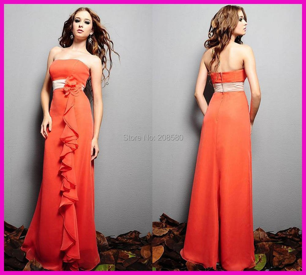 Compare prices on orange bridesmaid dresses long online shopping pretty strapless ruffled chiffon long cheap wedding party 2016 orange bridesmaid dresses dress sash b657 ombrellifo Image collections