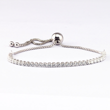 Genuine 925 Sterling-Silver-Jewelry Bracelets for Women DIY Jewelry Making Sparkling Strand Bracelet with Clear CZ