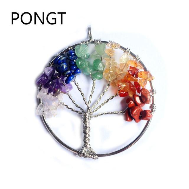New fashion silver wire wrap tree of life pendant rainbow circle ...