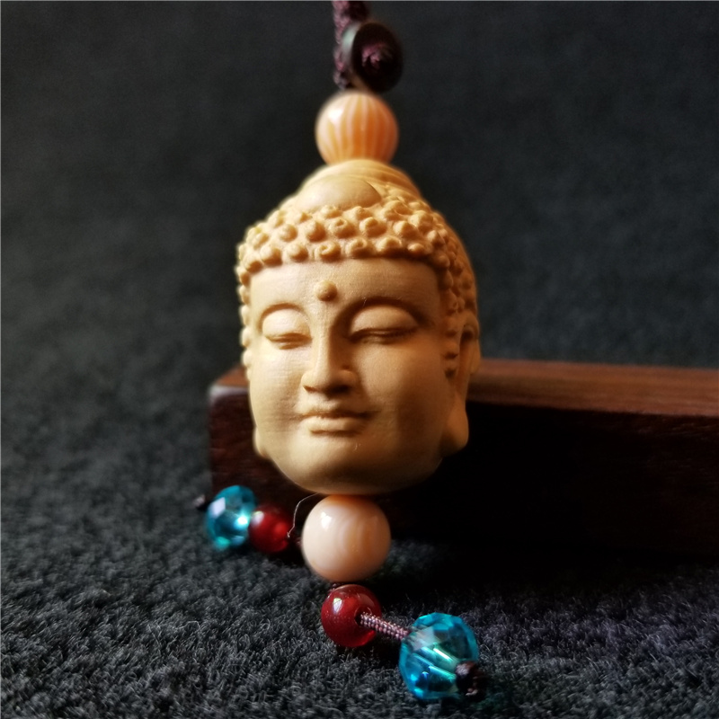 Mini Double sided Two Face Buddha head devil statue Mobile bag decoration figurine wood Chinese toy Sculptures