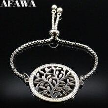цена на 2019 Fashion Tree of Life Crystal Stainless Steel Bracelet Women Silver Color Bracelets Bangles Jewelry pulseira feminina B18323