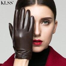KLSS Brand Genuine Leather Women Gloves With Touchscreen Autumn Winter Plus Velvet Fashion Elegant Lady Goatskin Glove 202