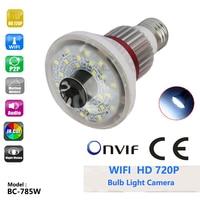 BC 785W HD 720p Home Bulb Ip Camera White LED Light 1 4 CMOS Sensor Support