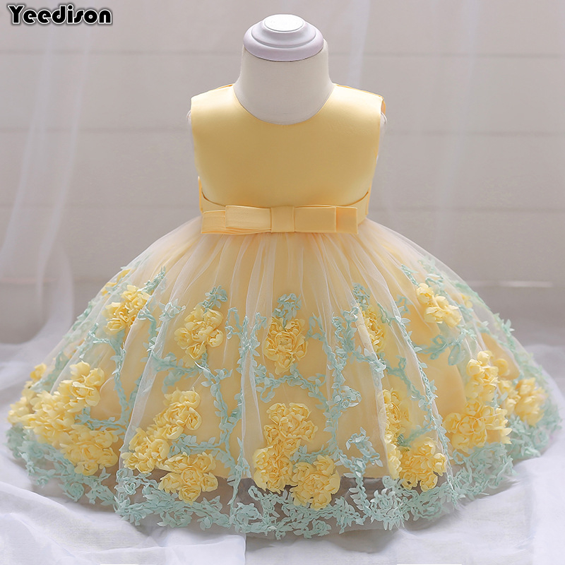 Flower Newborn Baby Girl Dress Princess Party And Wedding Dresses Christening Gown For Baby Girl 1 Year Birthday Infant Outfits