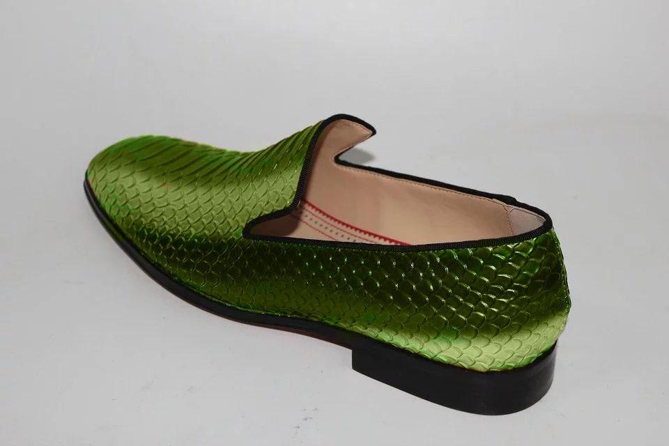 Bling 3 Vert Picture sur Fumer Peau Luxe Pantoufles Cm Slip Chaussures D'affaires Fluorescence Carré Qualité As Casual Top Serpent Talon Hommes wR6xqRYOa
