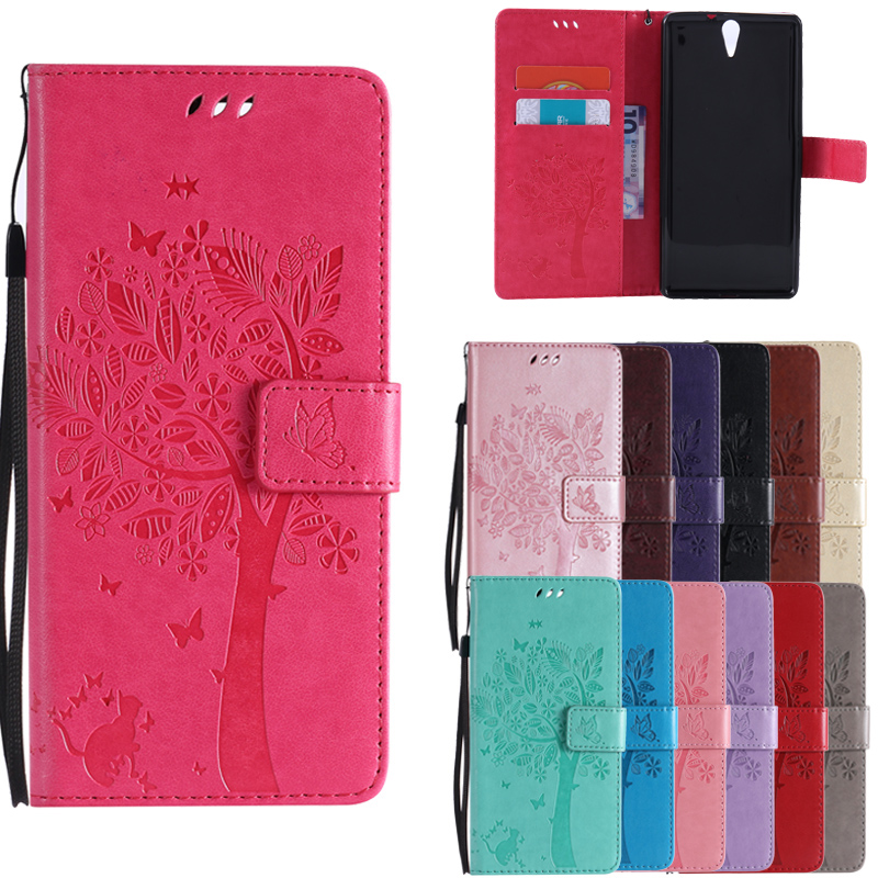 For coque Sony Xperia C5 case For Fundas Sony Xperia C5 Ultra / Dual E5533 3D Tree Cat Wallet Magnet Flip Cover Leather Cases