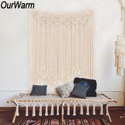OurWarm занавес макраме гобелены ручной работы DIY фото фон гостиная настенный Бохо Свадебные крещения вечерние украшения