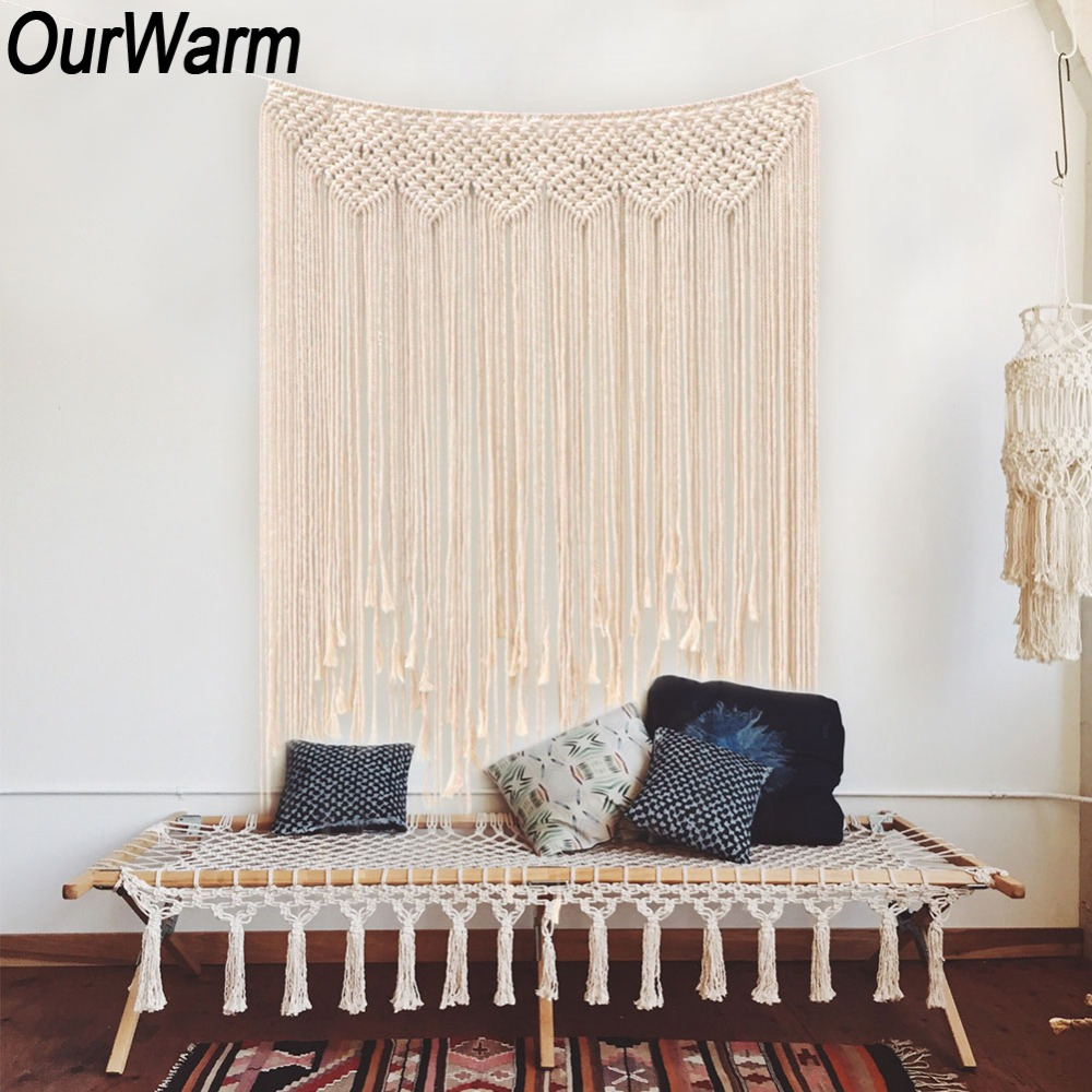 OurWarm Macrame Curtain Handmade Tapestry DIY Photo Backdrop Living Room Wall Hanging Boho Wedding Baptism Party Decoration