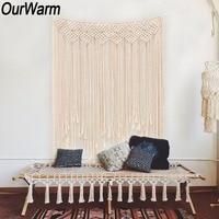 OurWarm Macrame Curtain Handmade Tapestry DIY Photo Backdrop Living Room Wall Hanging Boho Wedding Baptism Party Decoration