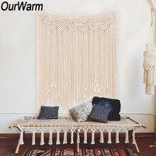 OurWarm Macrame ผ้าม่าน Handmade Tapestry DIY Photo ฉากหลังห้องนั่งเล่นแขวนผนัง Boho Wedding Baptism Party ตกแต่ง