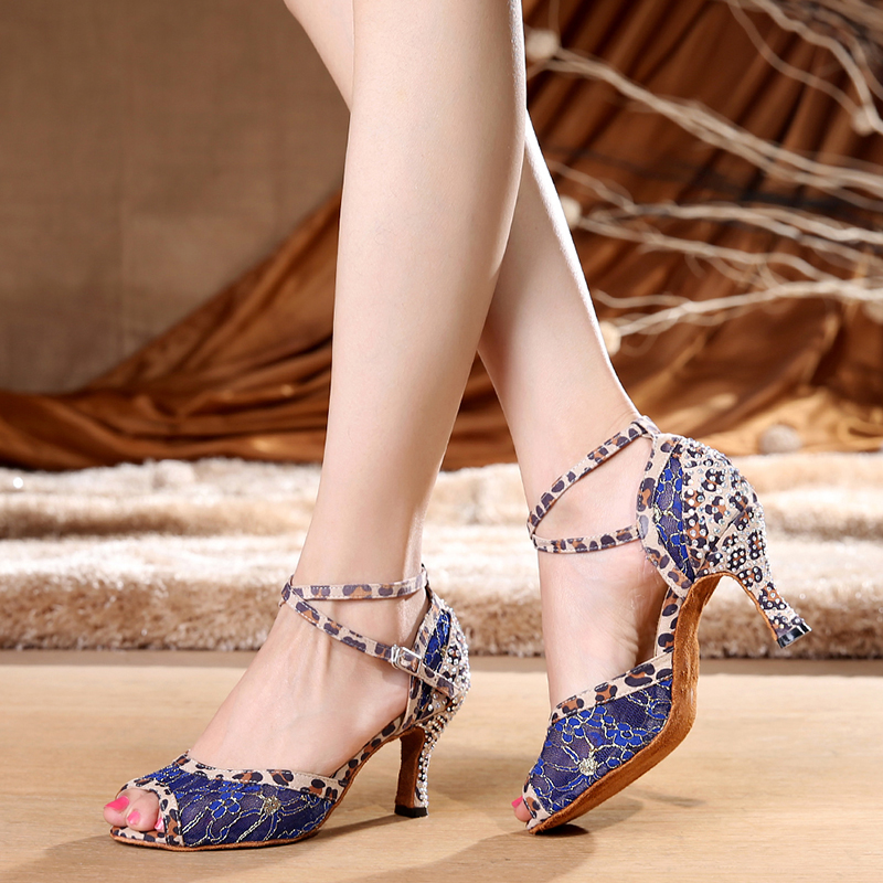 Faithful 2019 Brand Blue Red Lace Latin Dancing Shoes Women's Rhinestone Companionship Shoes Salsa Party Ballroom Dancing Shoes