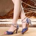 2020 брендовые синие Красные кружевные туфли для латинских танцев  женская обувь со стразами  обувь для сальсы вечерние бальных танцев