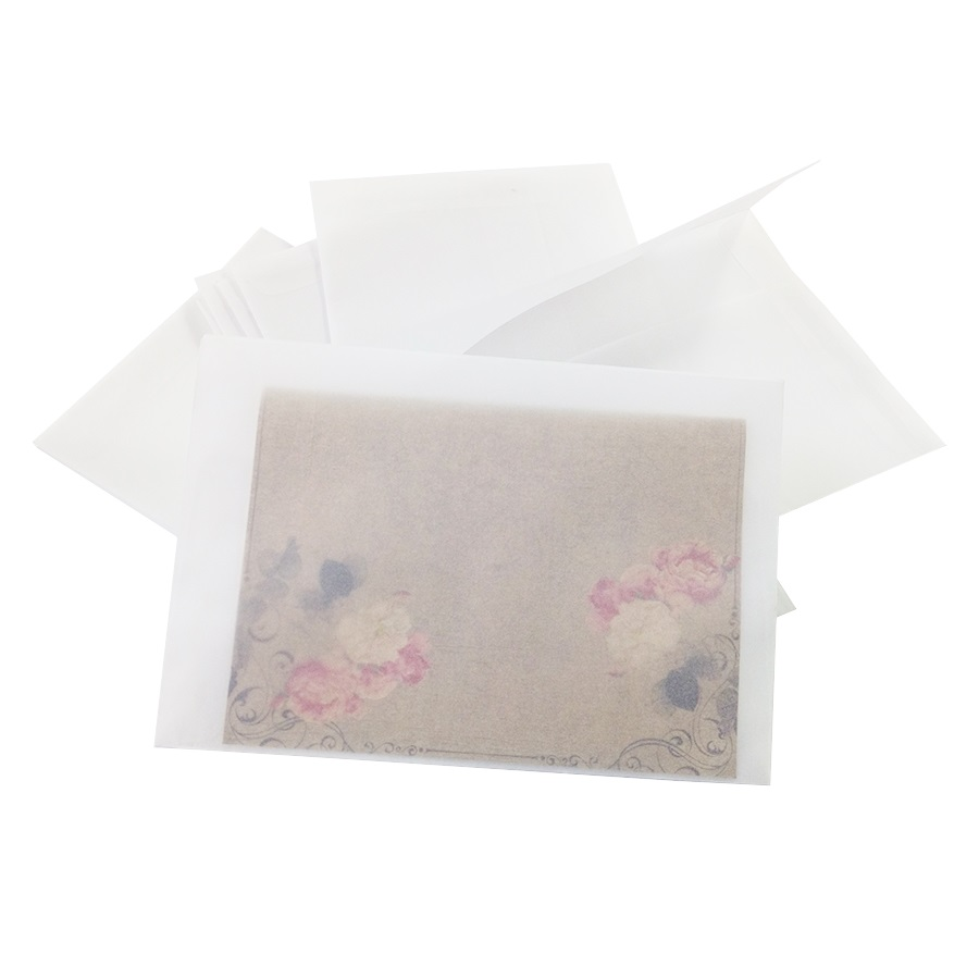 100pcs/lot Blank Translucent vellum envelopes DIY Multifunction Gift card envelope with seal sticker for wedding birthday 6