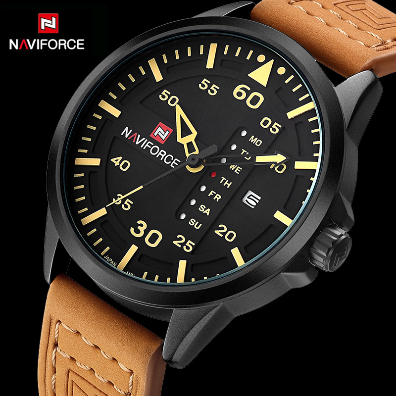 2017 New NAVIFORCE Luxury brand Men Army Military Sports Watches Men's Quartz Clock Man Leather Waterproof Wrist Watch weide new men quartz casual watch army military sports watch waterproof back light men watches alarm clock multiple time zone